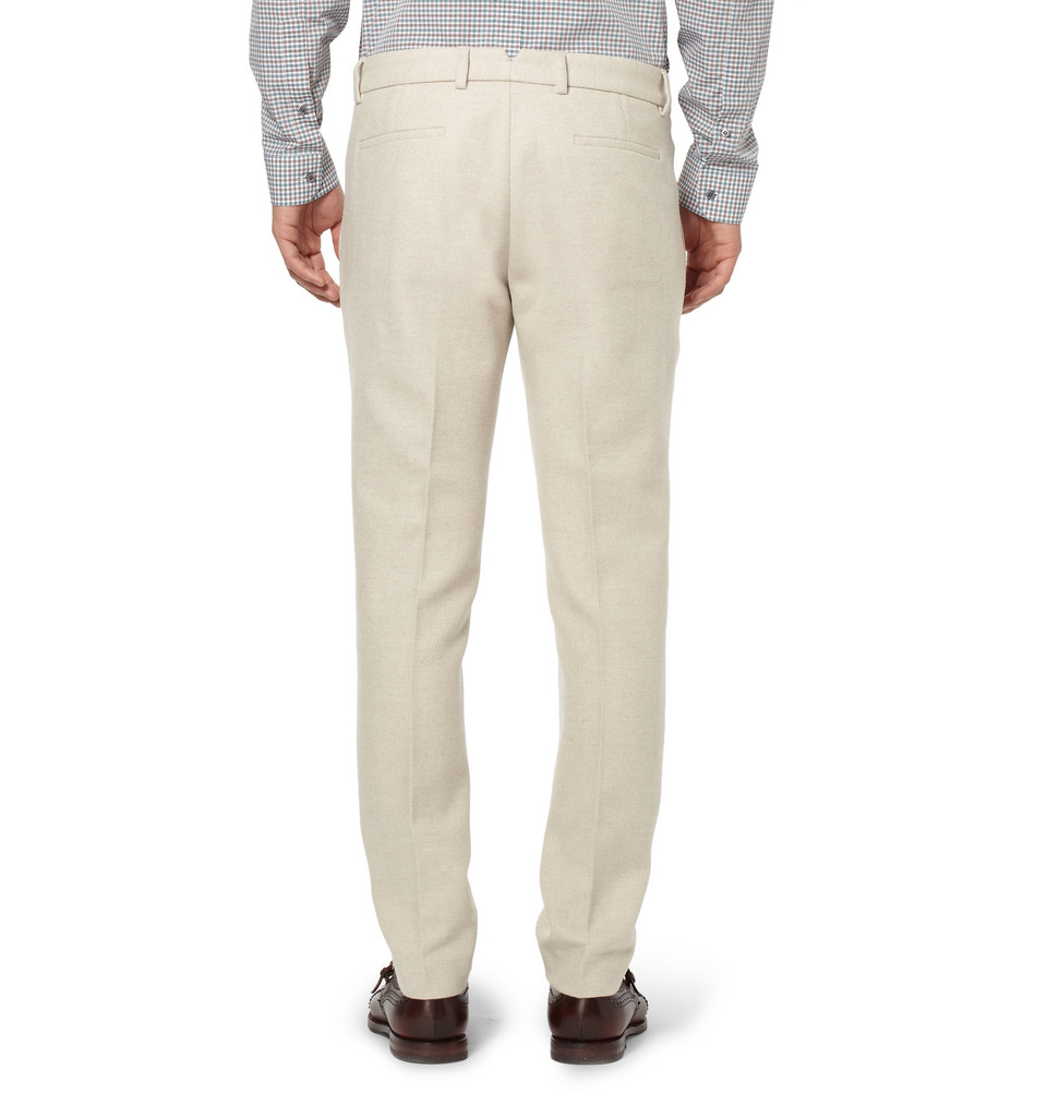 3cd18043f377 Gucci Flint Regular-Fit Wool Trousers in Natural for Men - Lyst