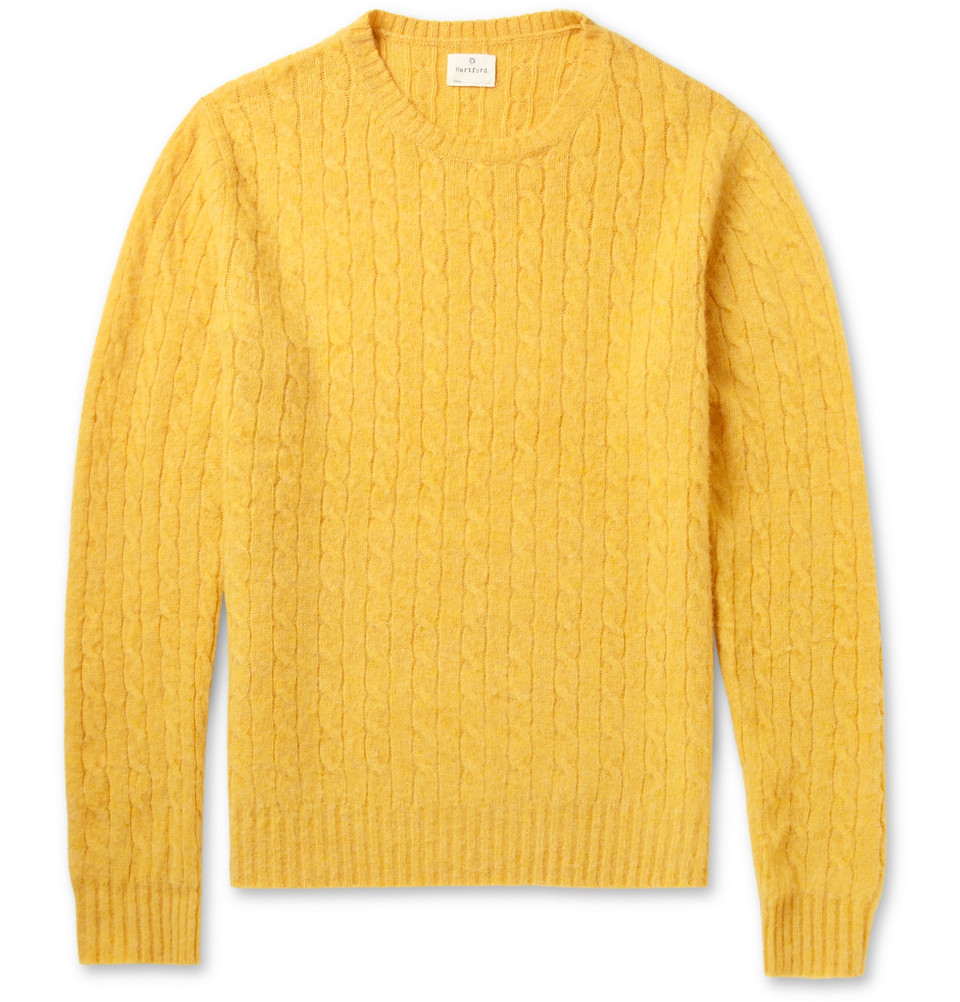 421df69fc258 Lyst - Hartford Cable Knit Shetland Wool Sweater in Yellow for Men