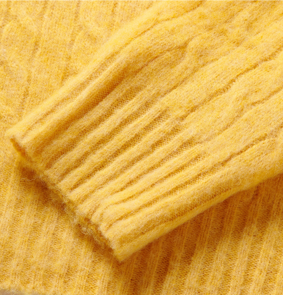Hartford Cable Knit Shetland Wool Sweater In Yellow For Men Lyst