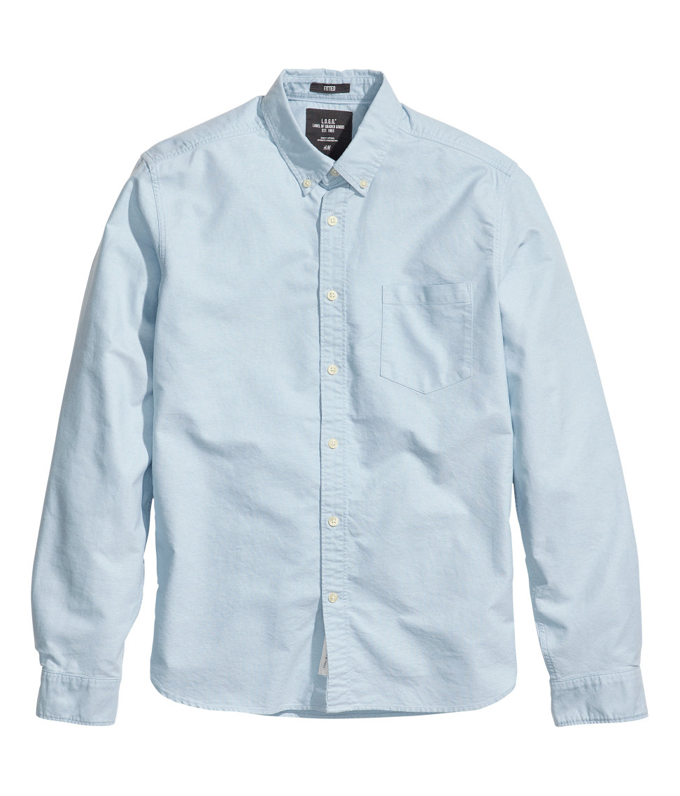 Lyst h m oxford shirt in blue for men for Mens blue oxford shirt