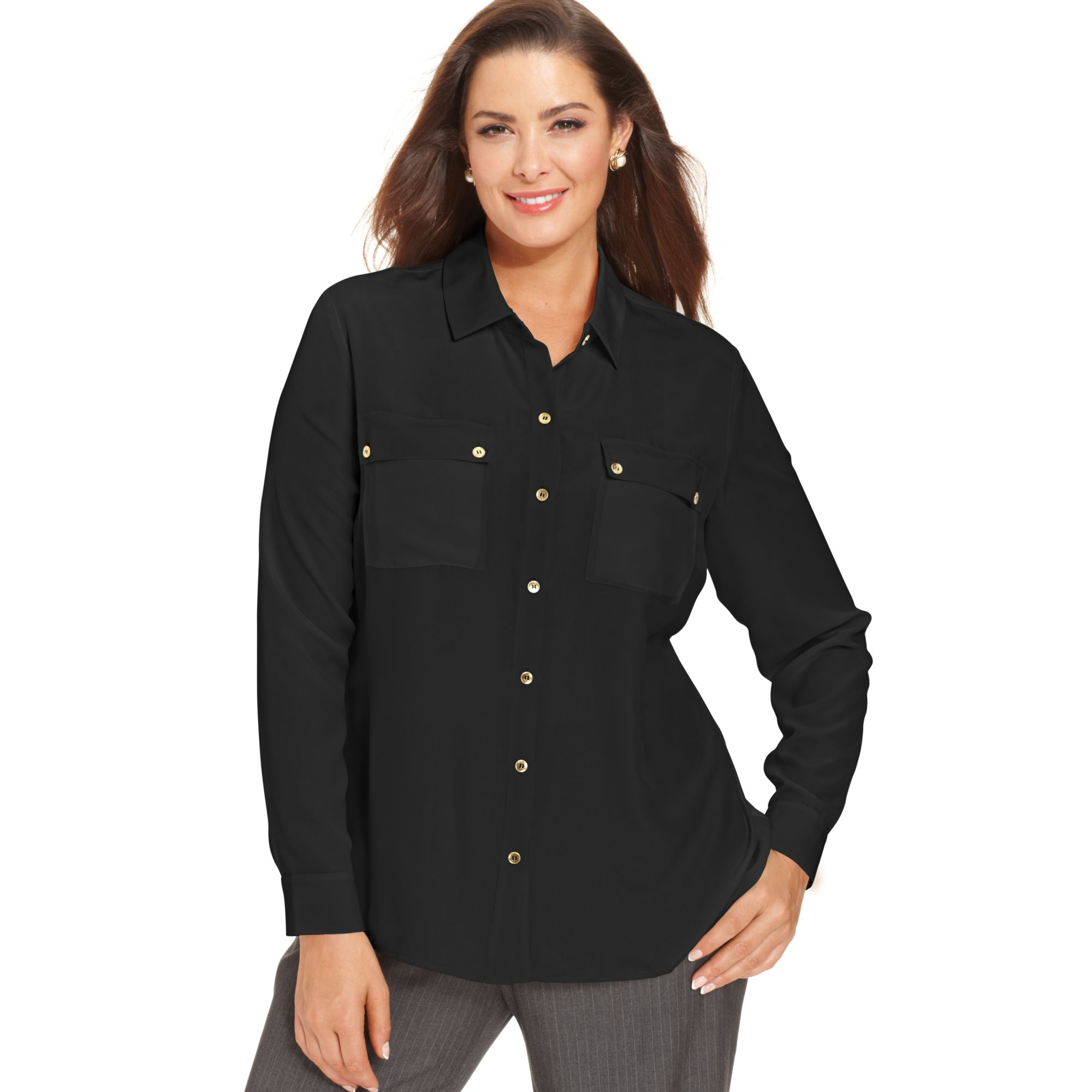 Jones new york longsleeve utility shirt in black lyst for New york and company dress shirts