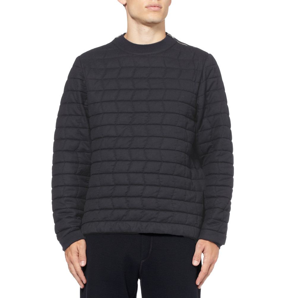 Lanvin Quilted Wool Sweater in Blue for Men