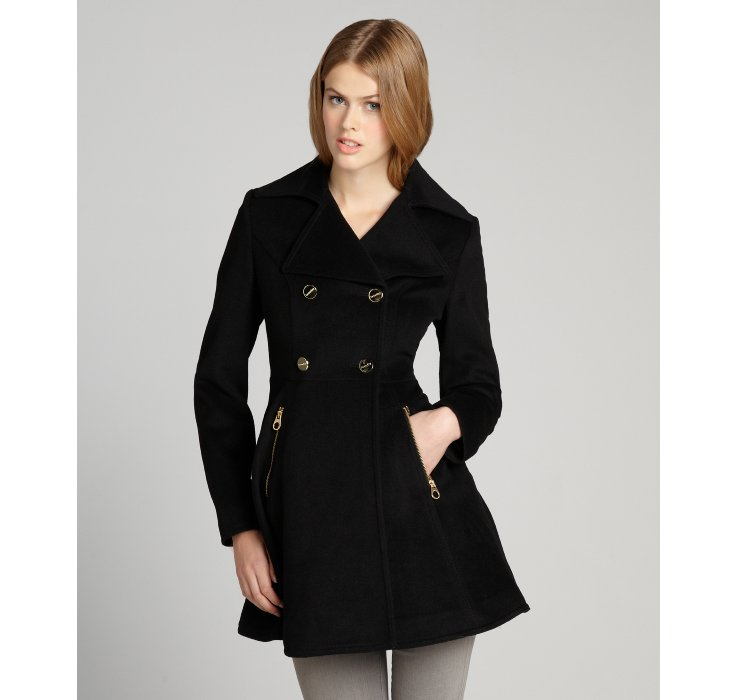 Laundry by shelli segal Black Wool Skirted Double Breasted Coat in ...