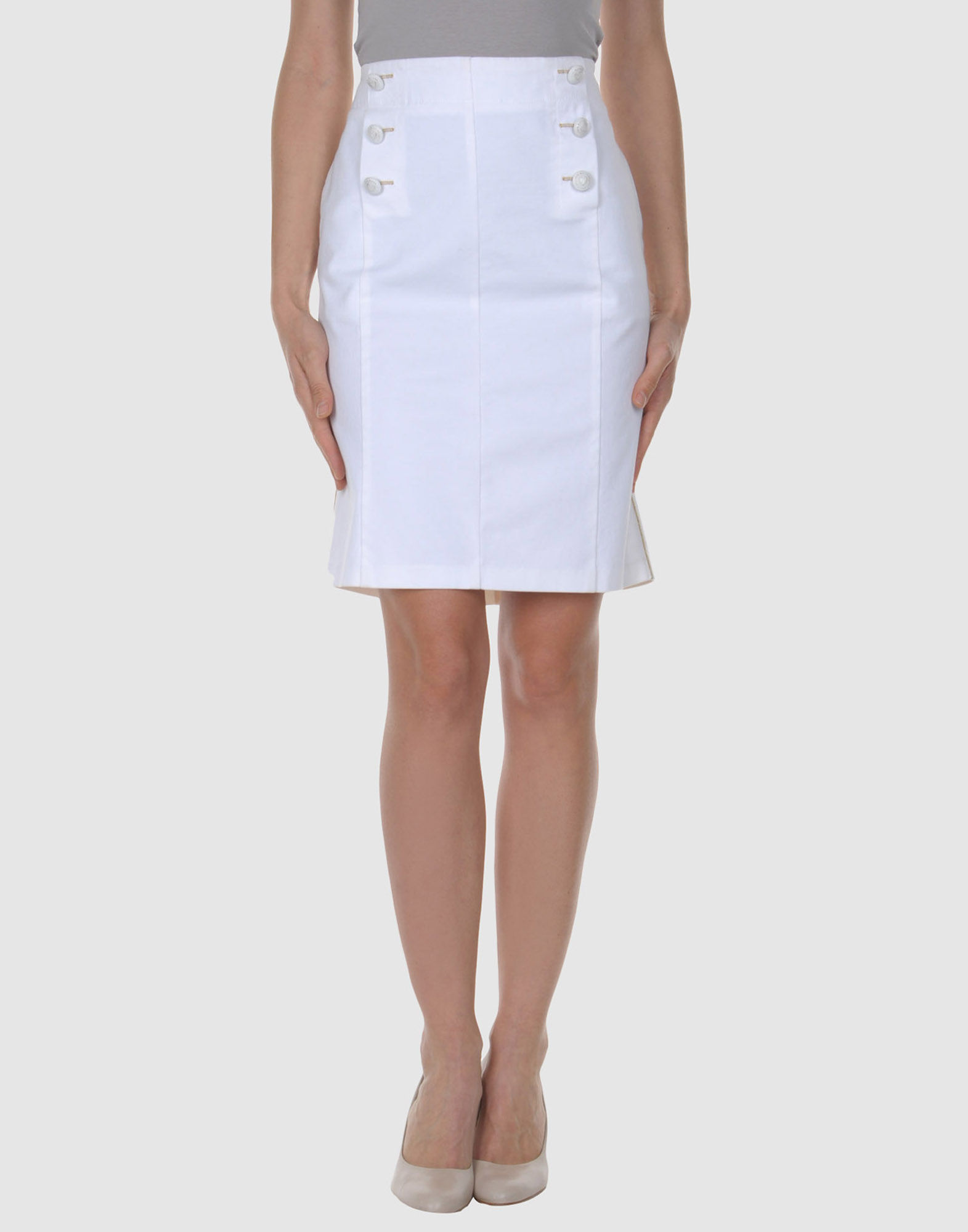 moschino knee length skirt in white save 30 lyst