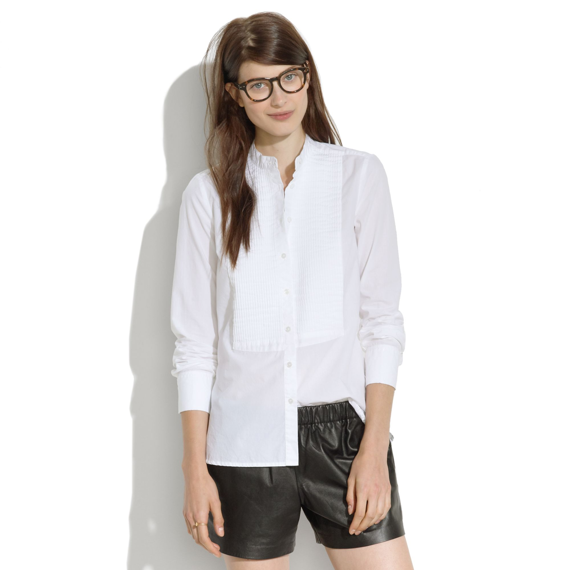 Madewell Collarless Tux Shirt in White | Lyst