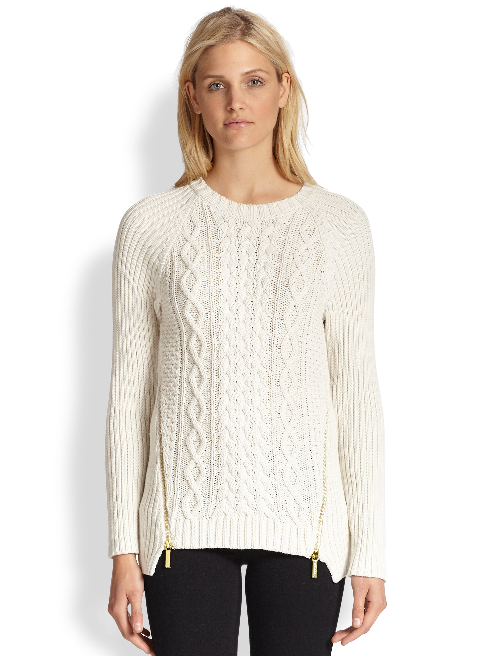 Lyst Michael Michael Kors Double Zip Cable Sweater In