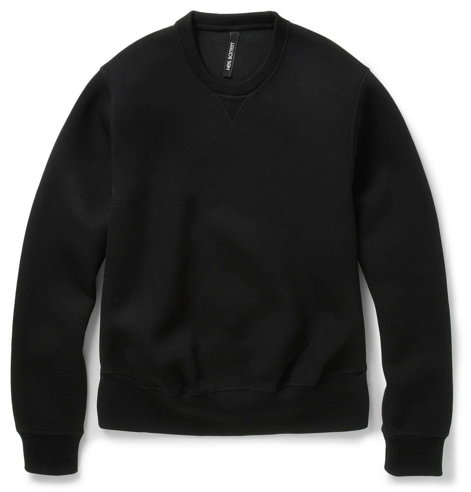Neil barrett Bondedjersey Crew Neck Sweatshirt in Black for Men | Lyst