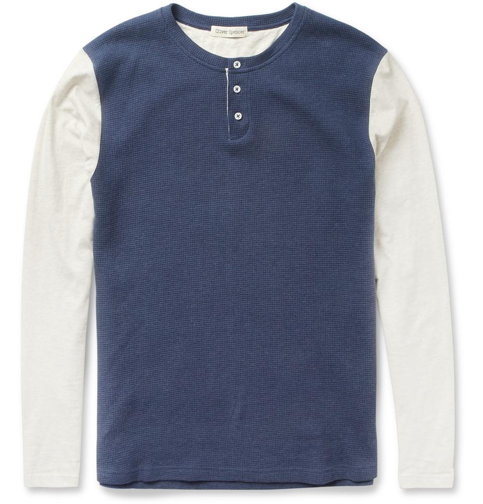 oliver spencer contrast sleeve cotton henley t shirt in. Black Bedroom Furniture Sets. Home Design Ideas