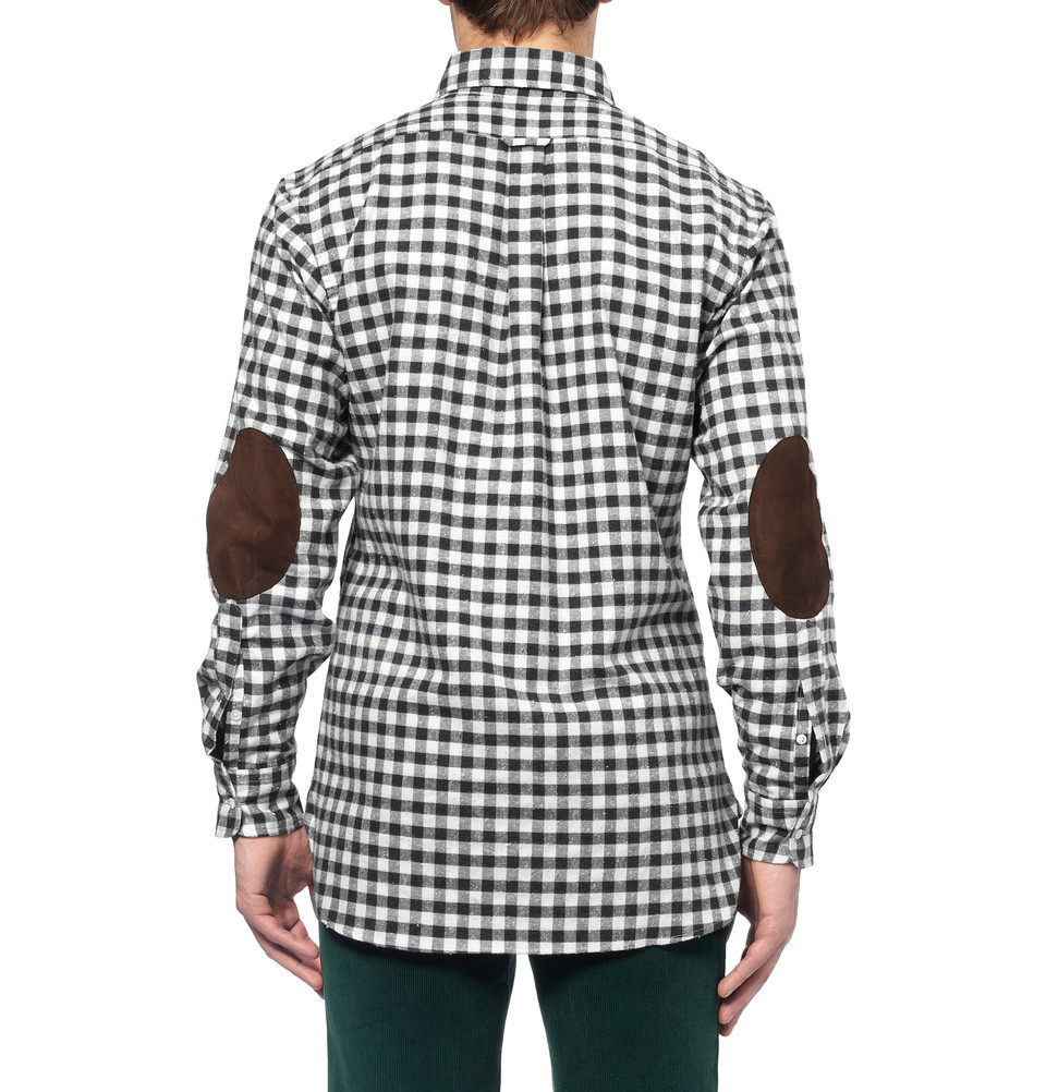 Lyst ovadia and sons midwood suede elbow patch gingham for Mens flannel shirt with elbow patches