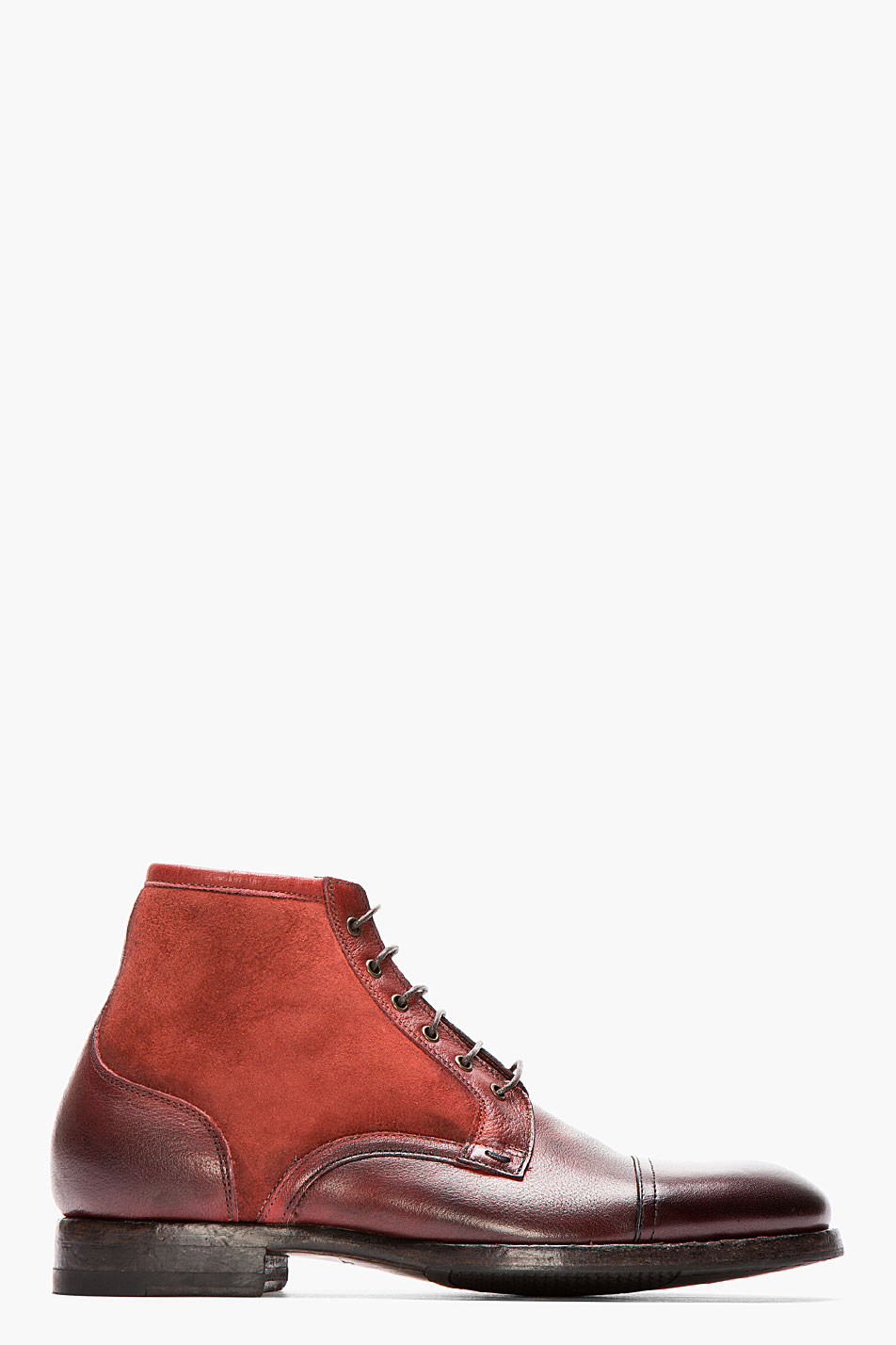 paul smith burgundy dip dyed suede and leather boots in