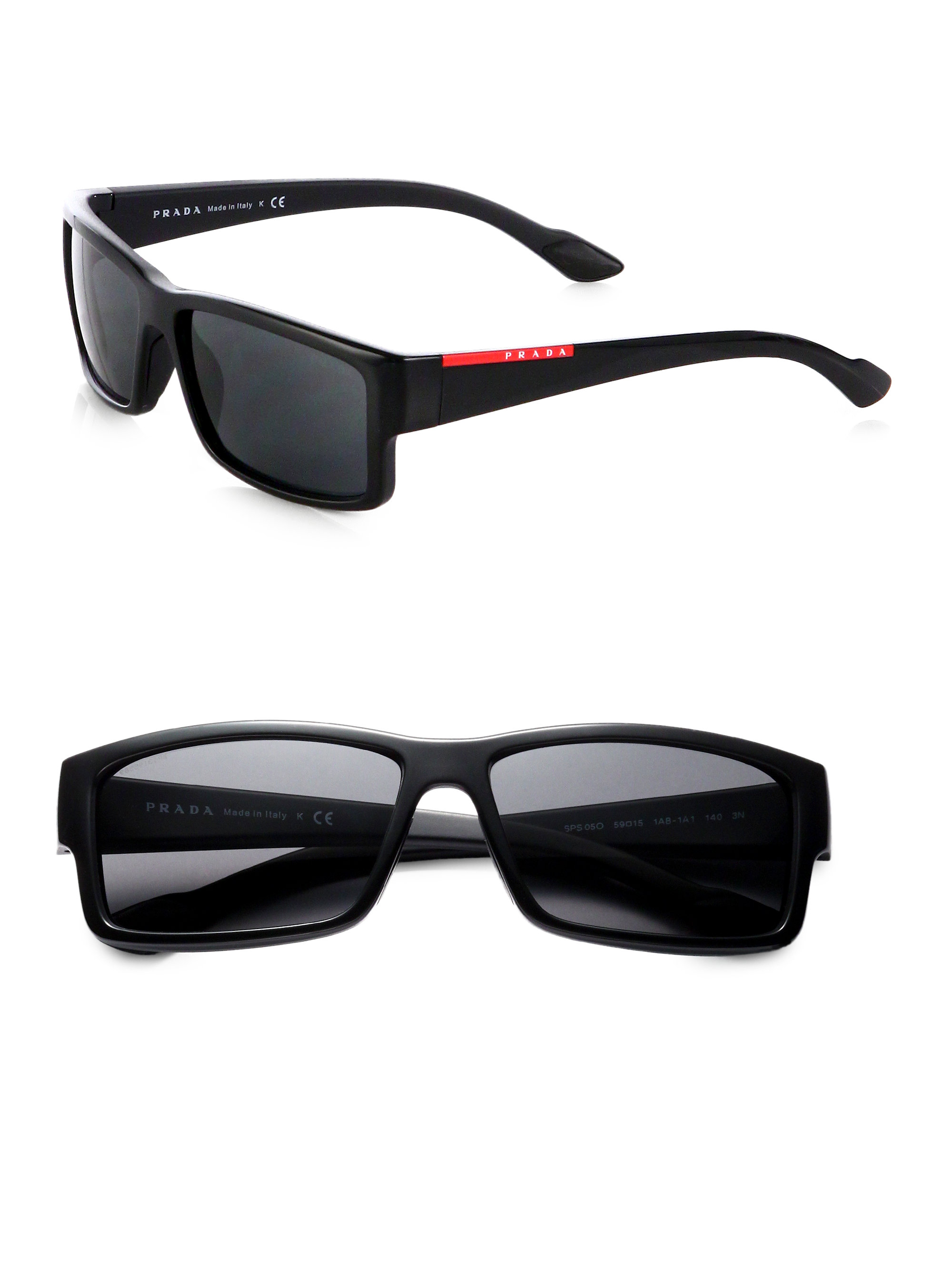 ebc70135f1 ... ireland lyst prada rectangle sport sunglasses in black fa330 d9f27