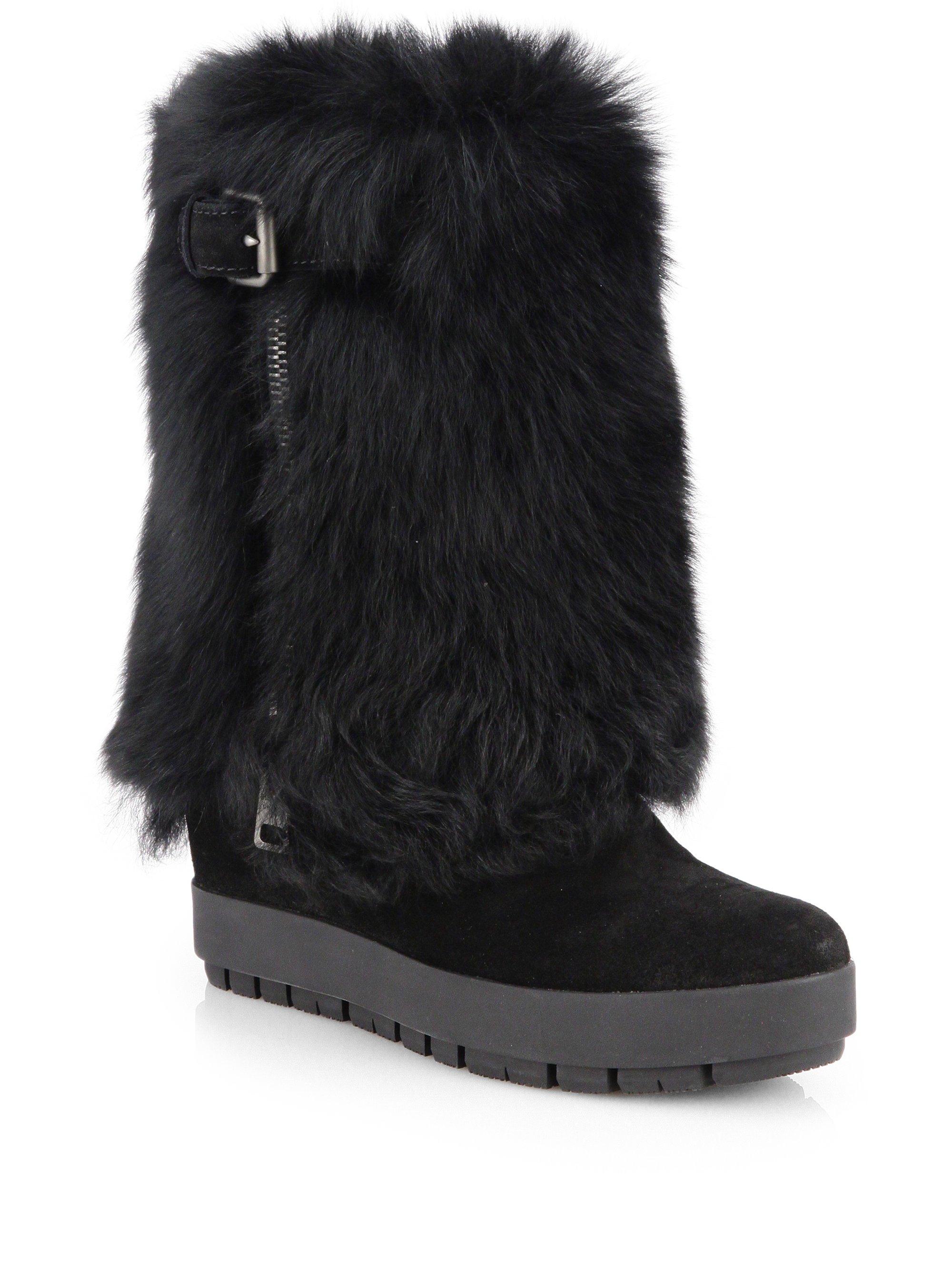 prada shearling fur suede platform wedge boots in black lyst