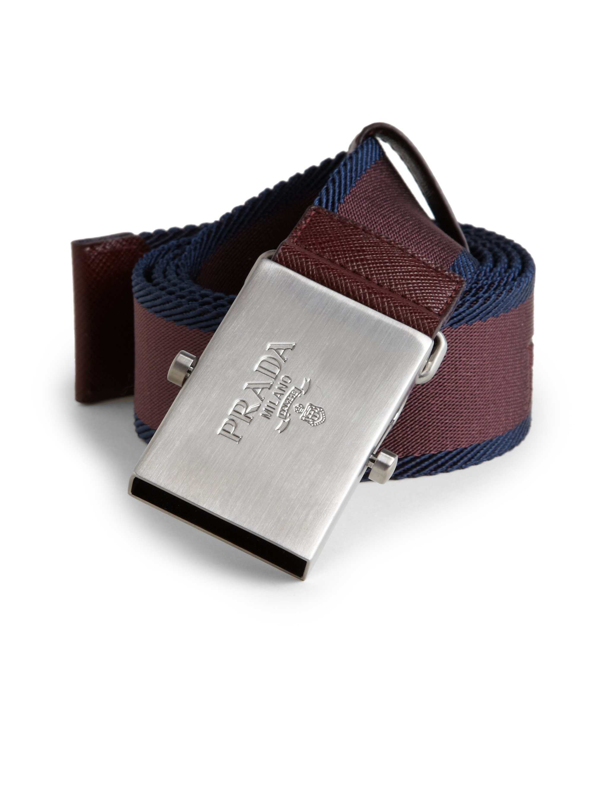Prada Nylon Bicolored Belt in Brown for Men (BURGUNDY) | Lyst