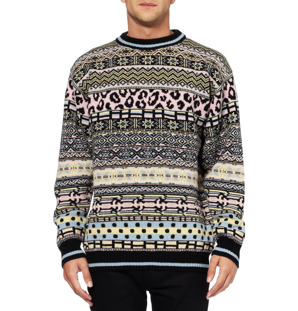 Sibling Oversized Fair Isle Lambswool Sweater in Pink for Men | Lyst