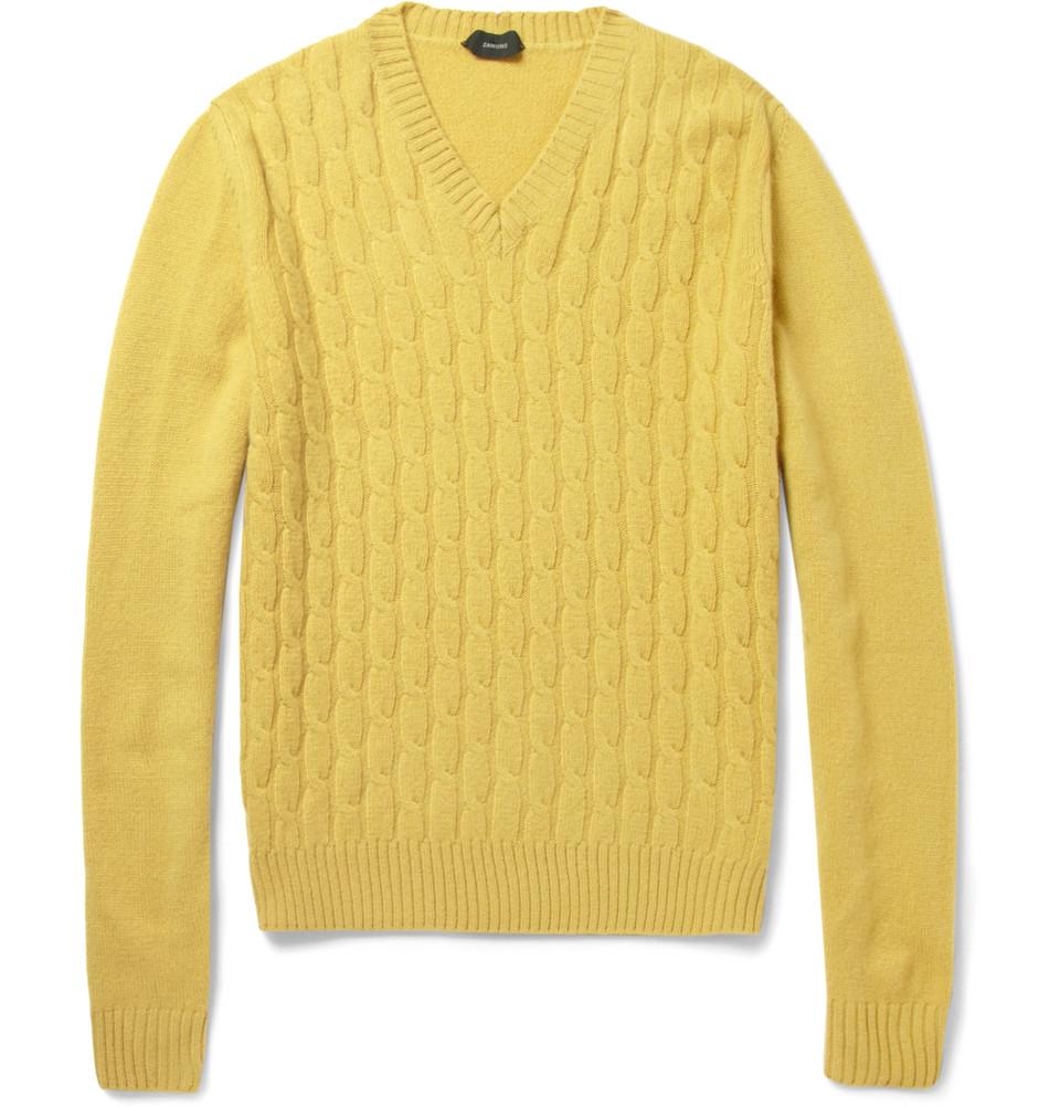 Slowear Zanone Cable Knit Wool Sweater In Yellow For Men Lyst