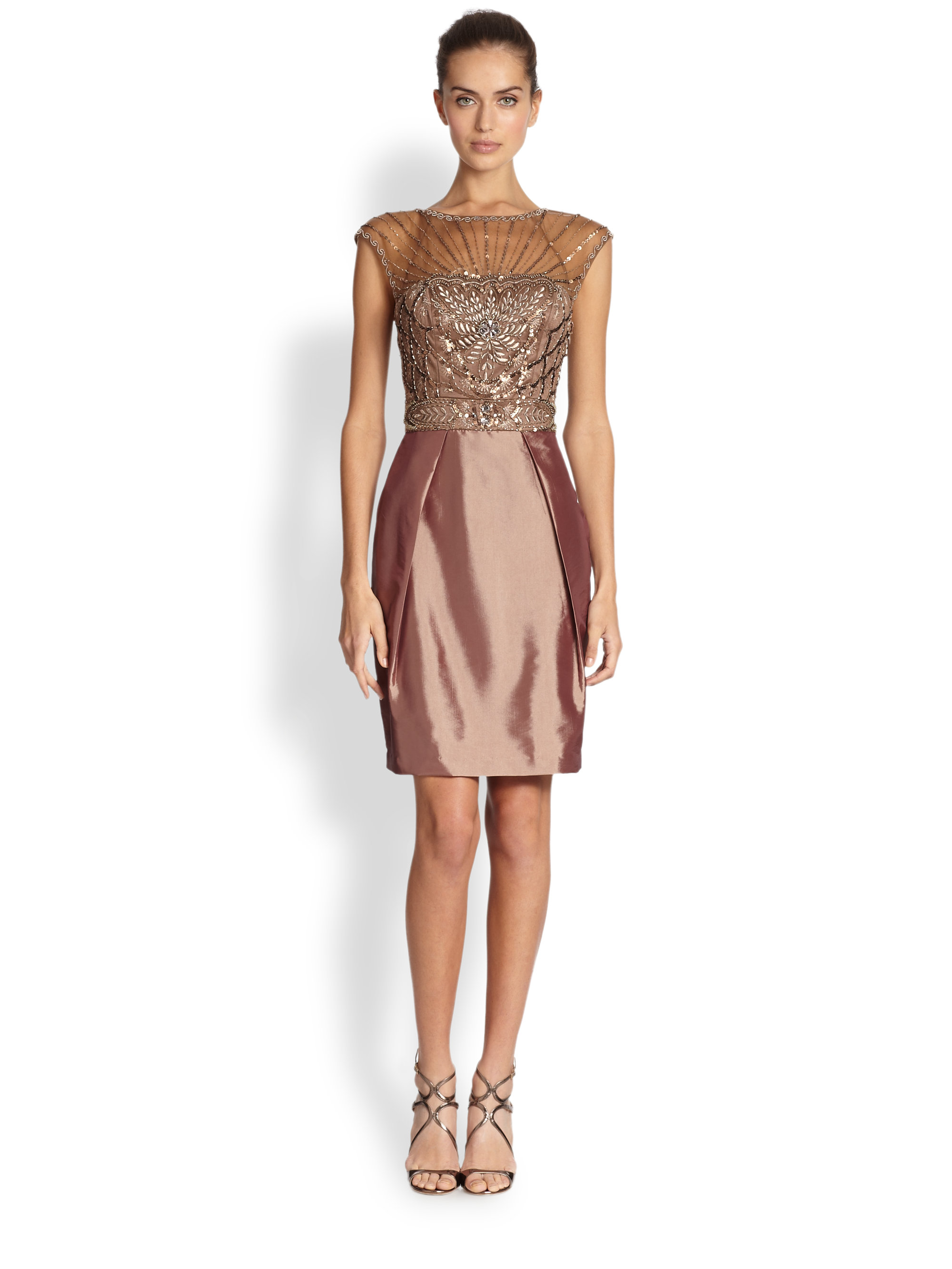 Sue Wong Illusion Yoke Beaded Cocktail Dress In Toffee