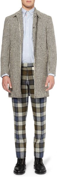 Thom Browne Houndstooth Donegal Coat In Gray For Men