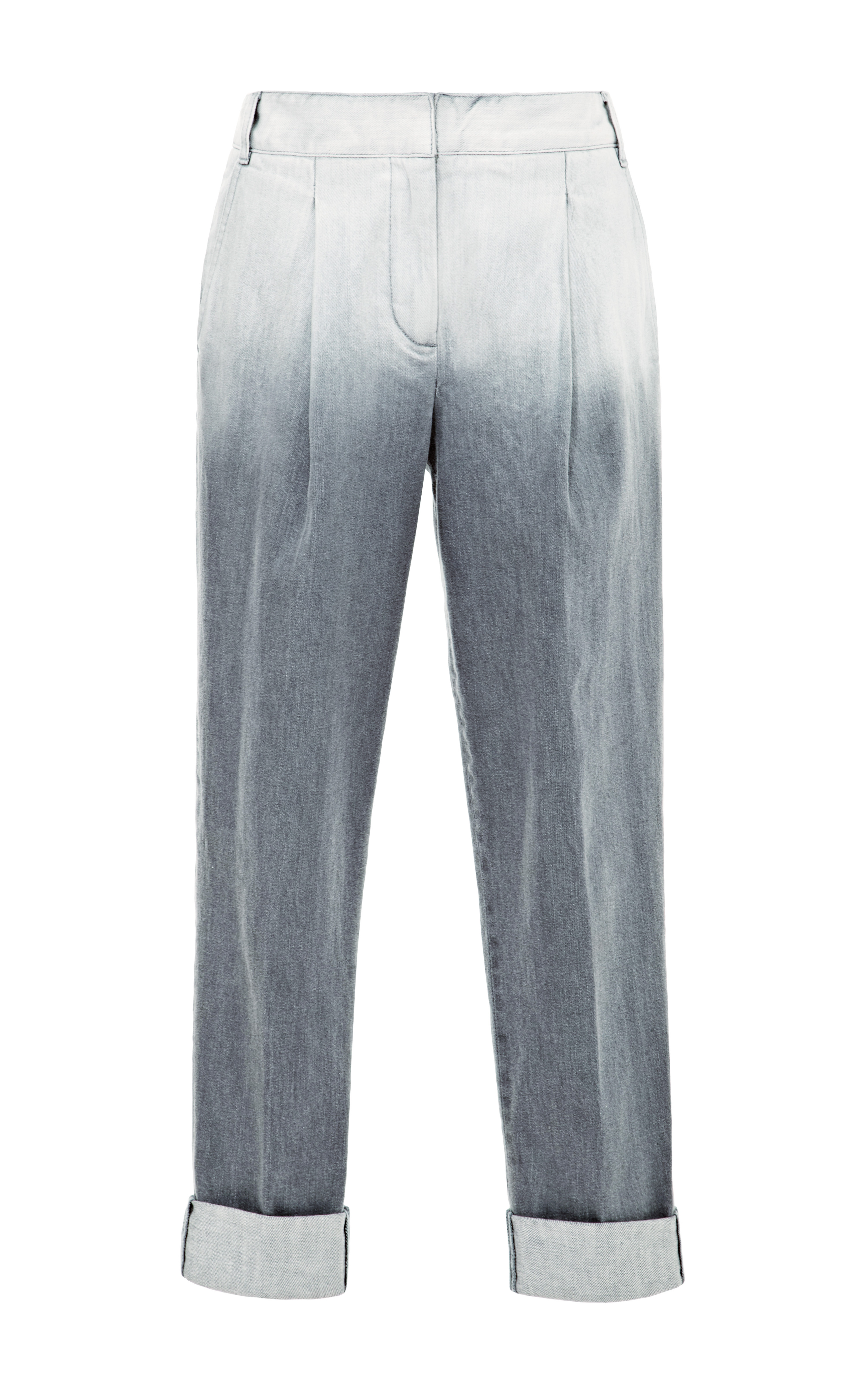 Tibi Dip Dyed Denim Pleated Pants in Gray | Lyst