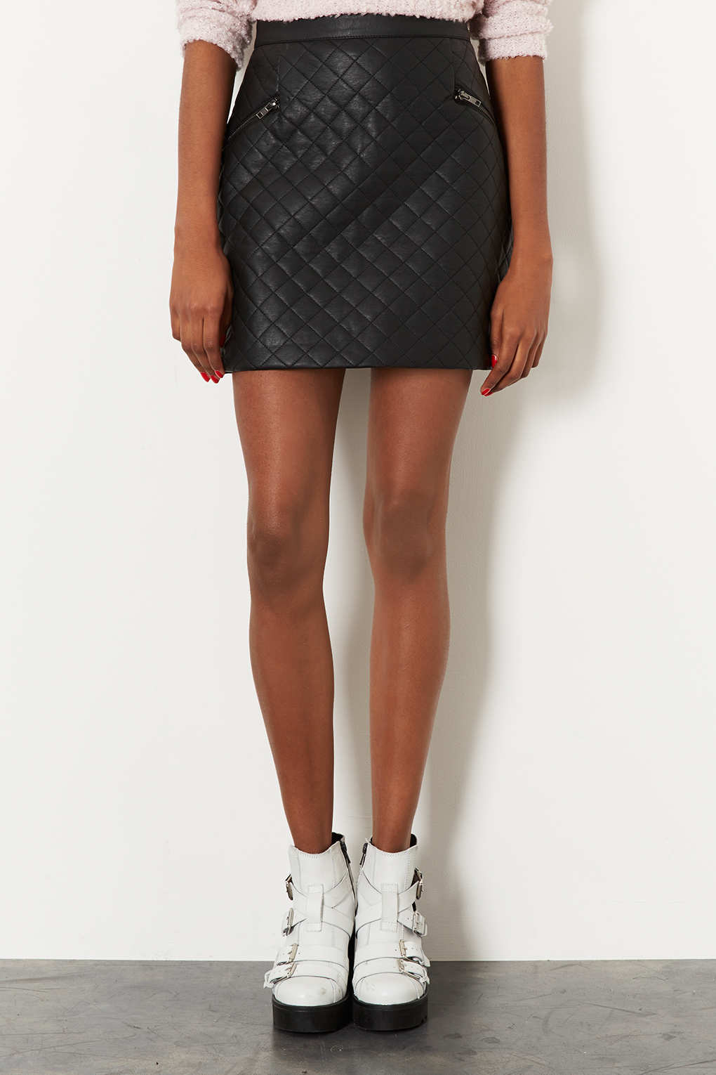 Topshop Tall Quilted Aline Skirt in Black | Lyst