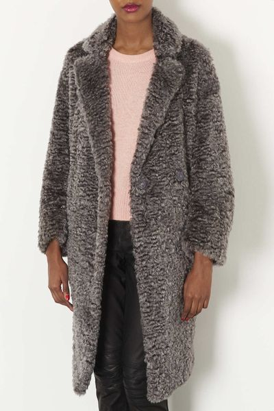 Topshop Curly Faux Fur Long Coat In Gray Grey Lyst
