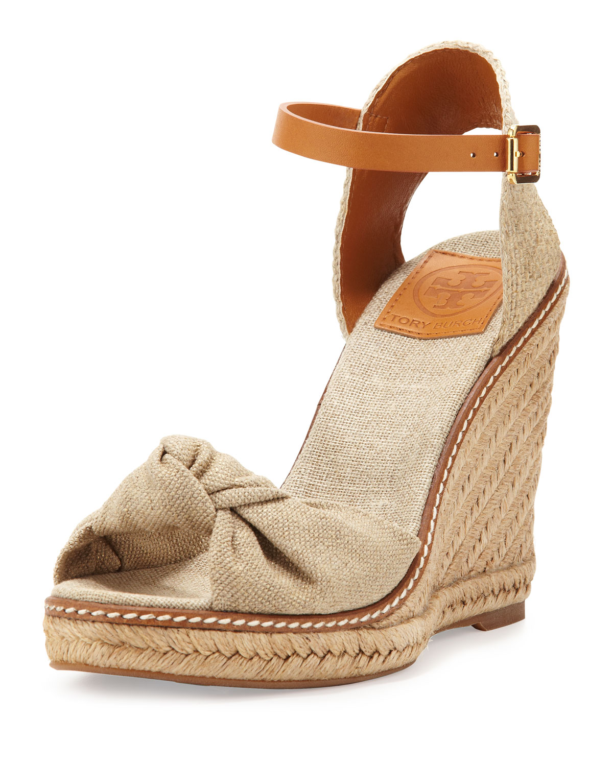 b58a2477d324 Lyst - Tory Burch Macy Linen Espadrille Wedge Gold Wash in Natural