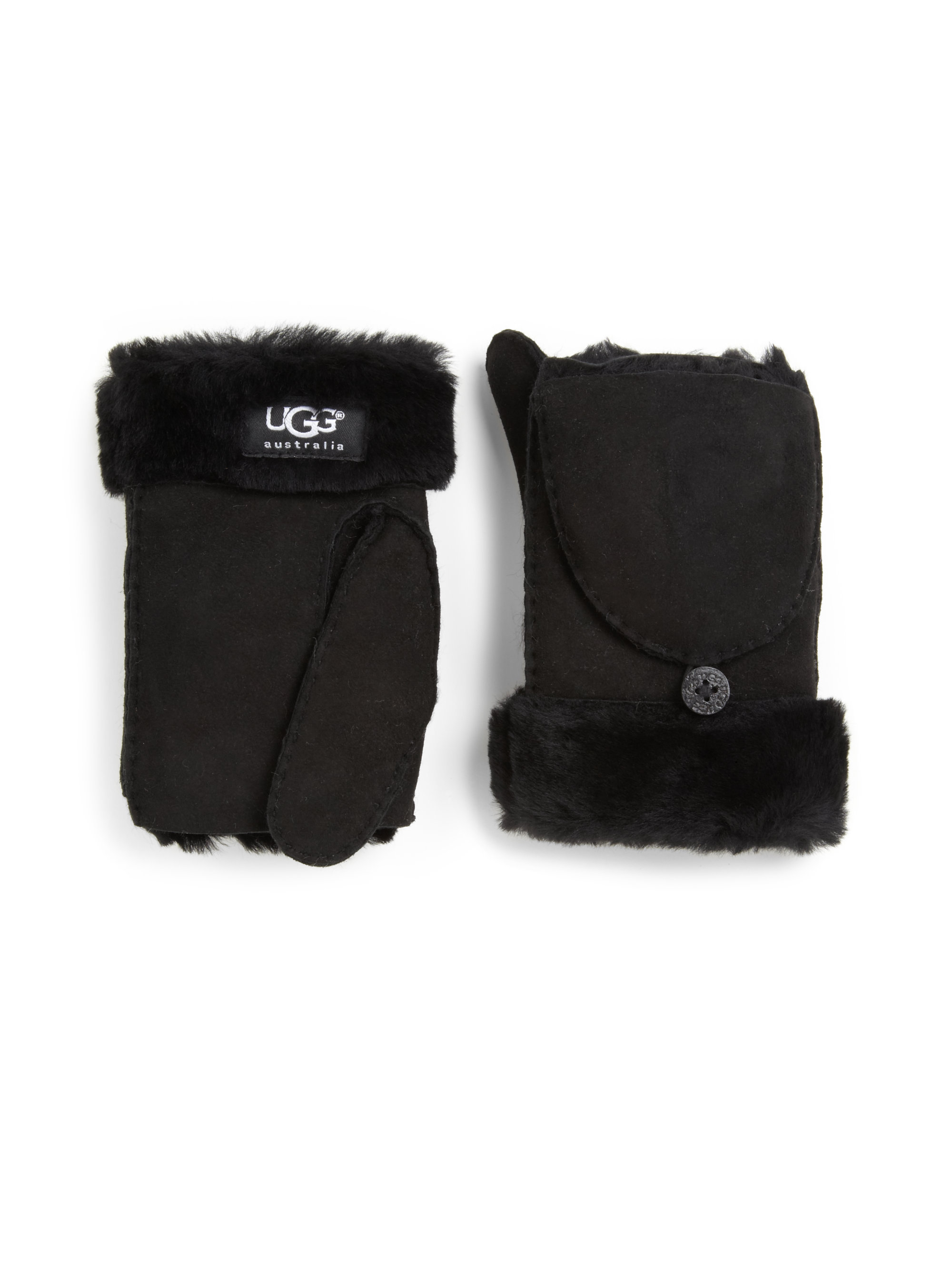 Ugg Convertible Shearling Mittens In