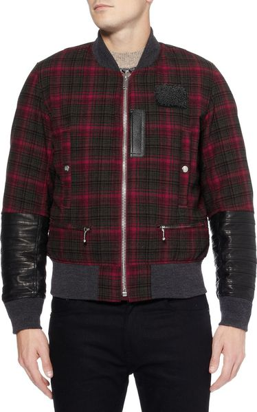 Undercover Leathertrimmed Check Wool Bomber Jacket In Red