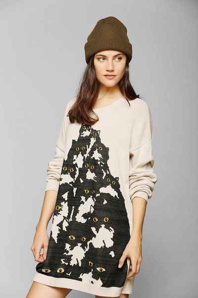 Urban outfitters pretty snake crazy cat sweater in beige for Lucky cat shirt urban outfitters