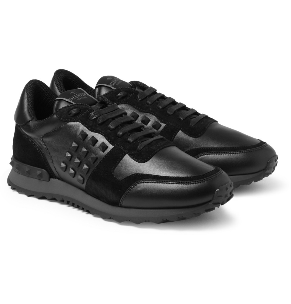 Valentino Studded Suede and Leather Sneakers in Black for ...