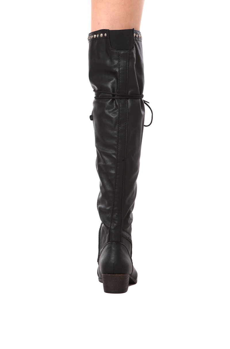 Akira Alabama13 Lace Up Tall Boot In Black Lyst