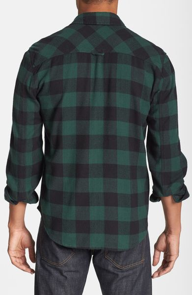 Alternative apparel timbers up check flannel shirt in blue for Buffalo check flannel shirt
