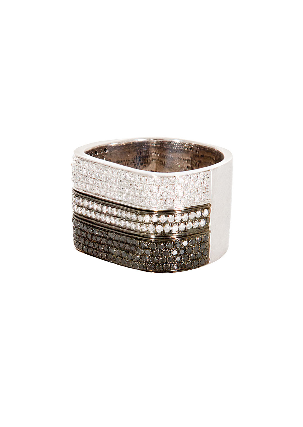 as29 white gold plated silver white diamonds and black