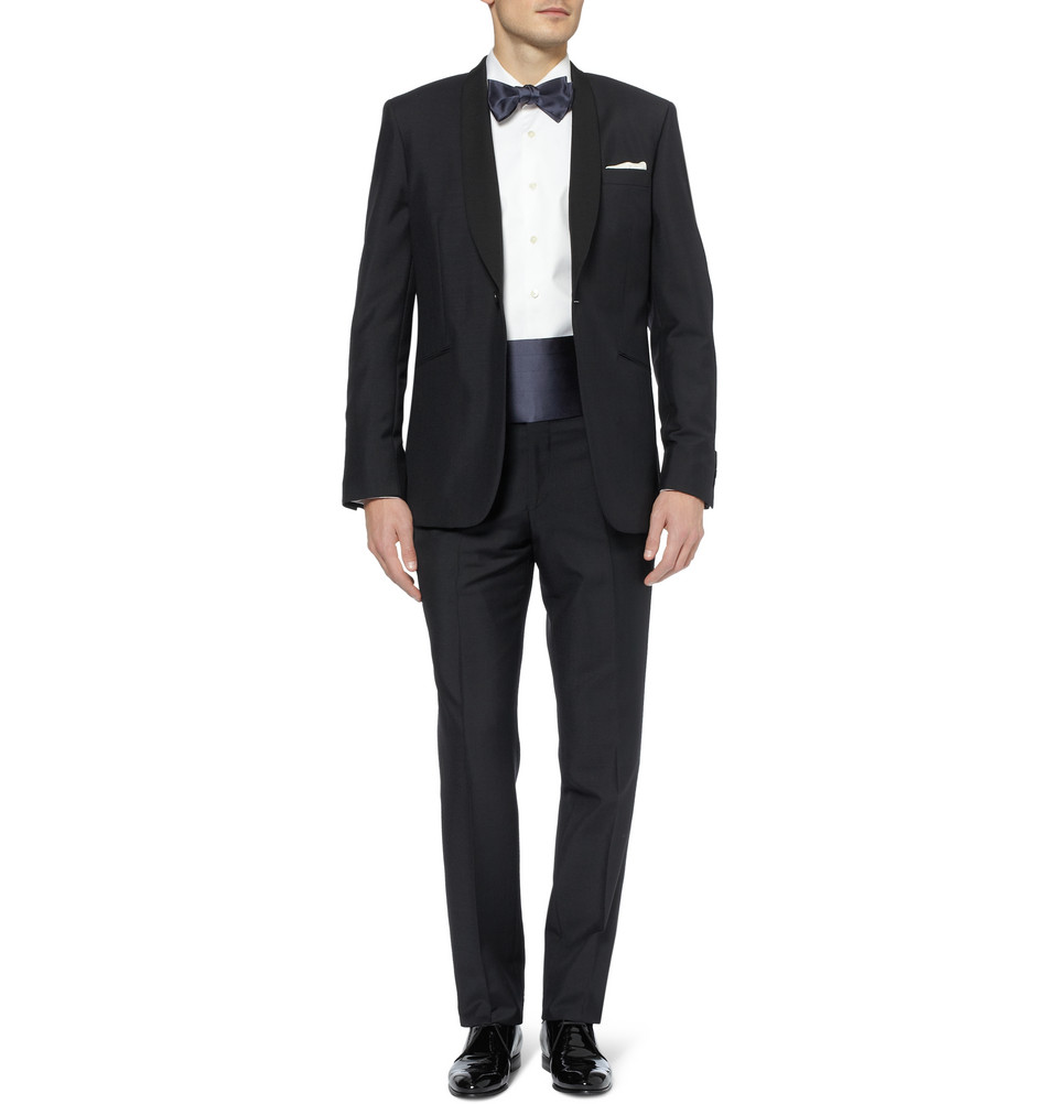 brioni silk satin bow tie and cummerbund set in blue for