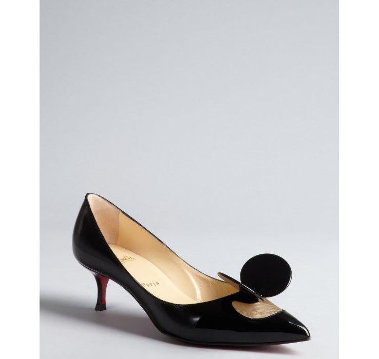 christian louboutin patent leather kitten heel pumps