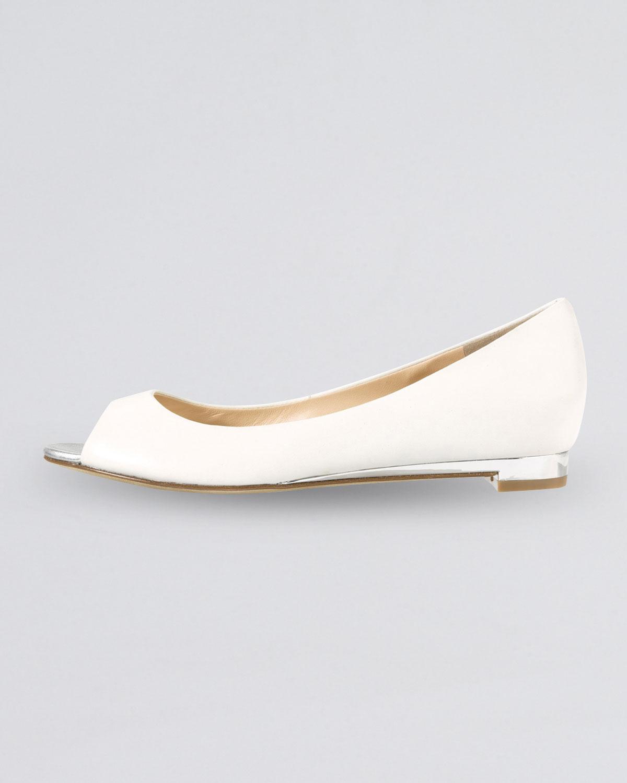 Cole Haan Astoria Peeptoe Ballerina Flat Ivory In White Lyst