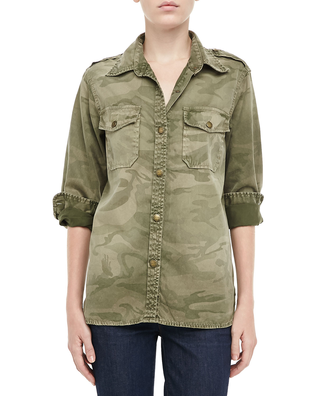 current elliott the perfect camouflage shirt in green