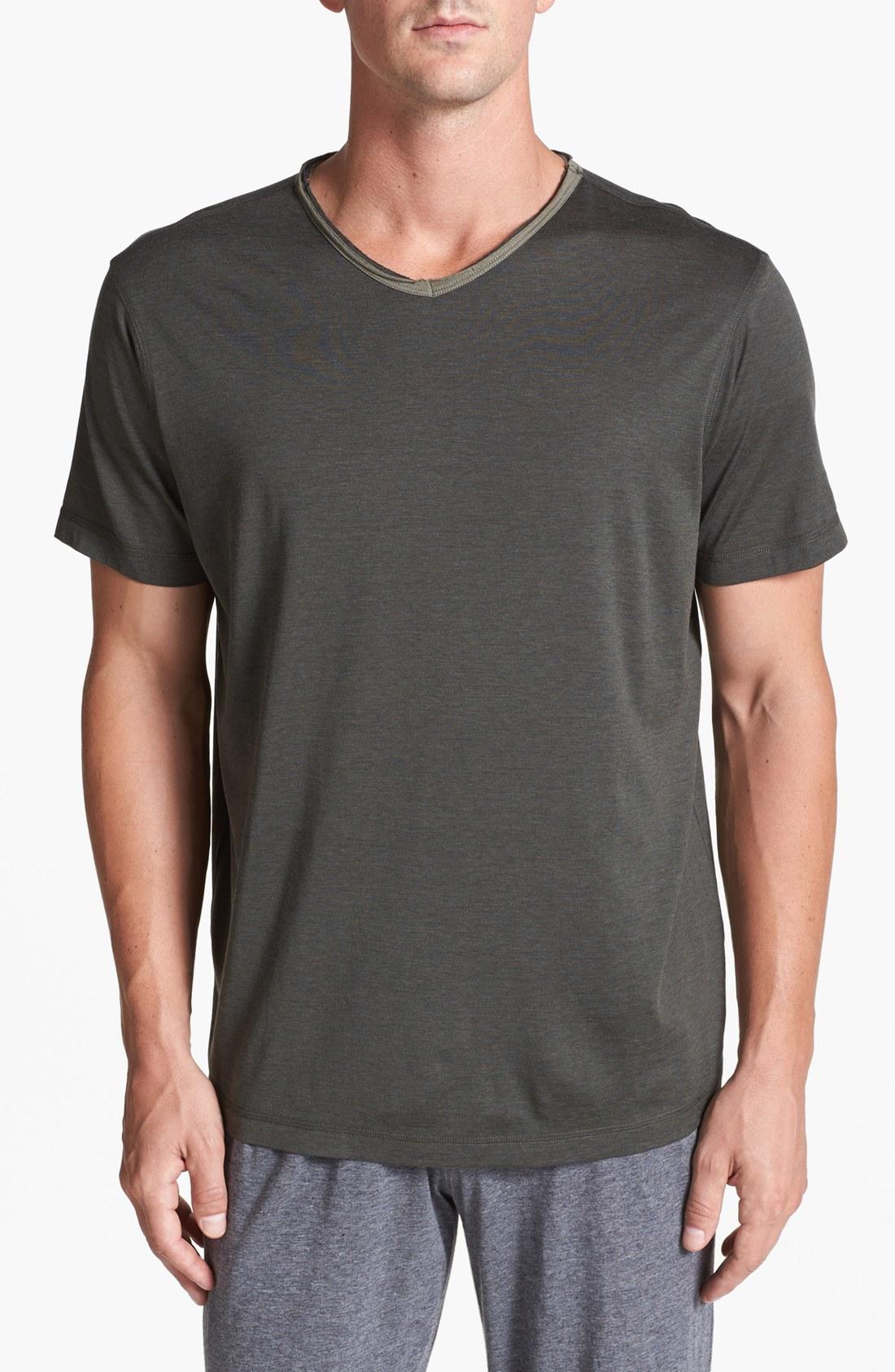 Daniel buchler silk cotton v neck t shirt in gray for men for Cotton silk tee shirts