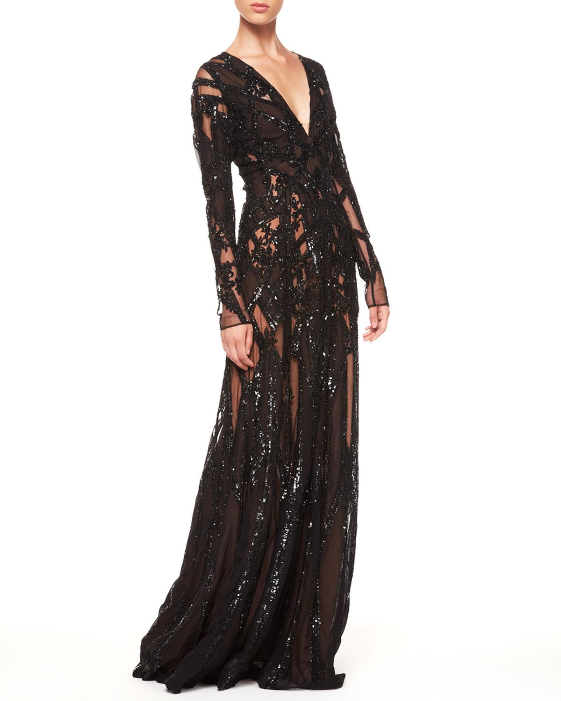Elie Saab Sheer Sequin Gown Black Lyst