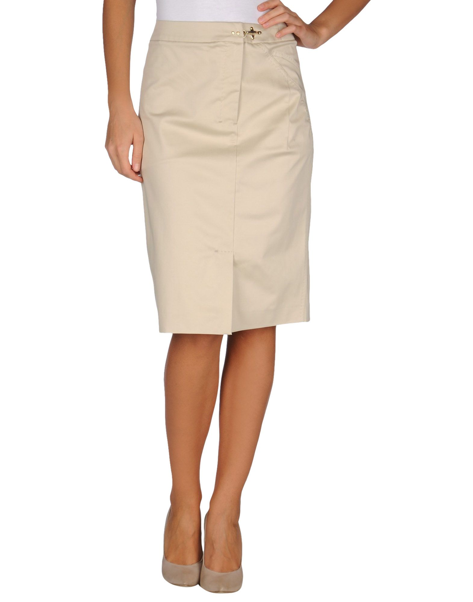 fay knee length skirt in beige lyst