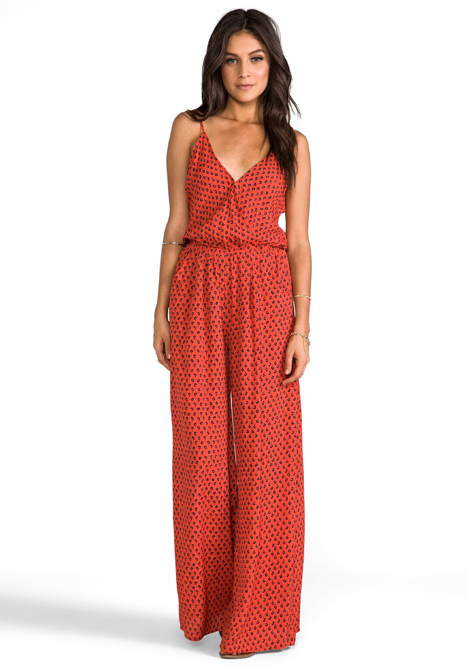Flynn skye Long Jumpsuit in American in Burnt Orange in Red | Lyst