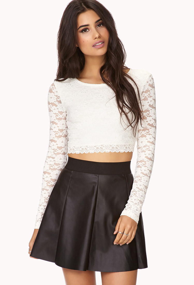 Forever 21 Edgy Faux Leather Skater Skirt in Black | Lyst