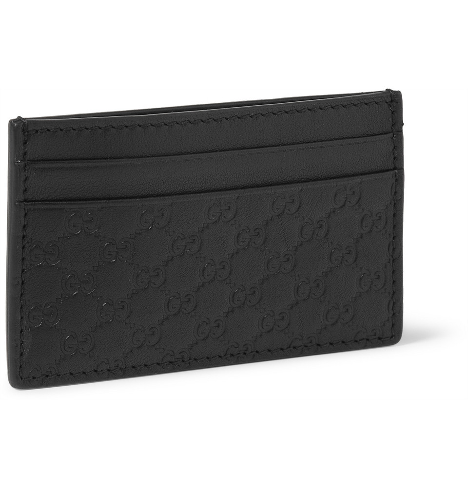 d1f89da762 Gucci Embossed Leather Card Holder and Money Clip in Black for Men ...