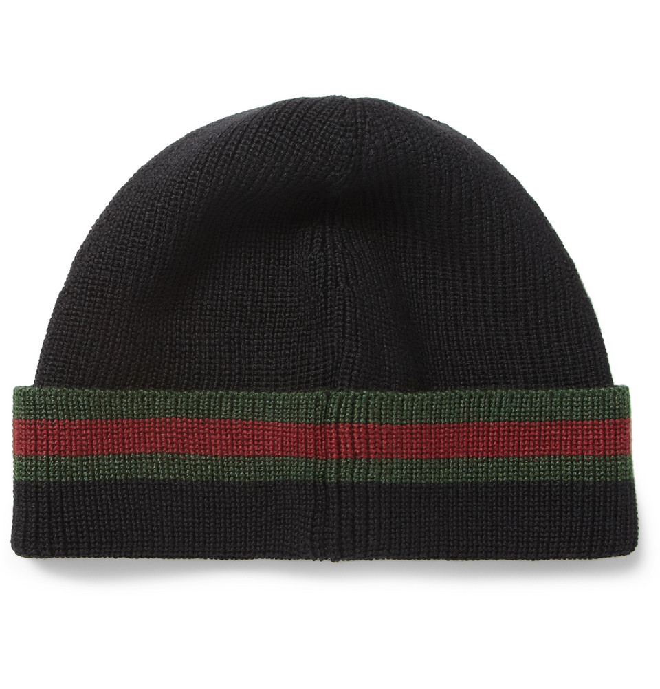 Gucci Hats For Men: Gucci Wool And Silkblend Beanie Hat In Black For Men