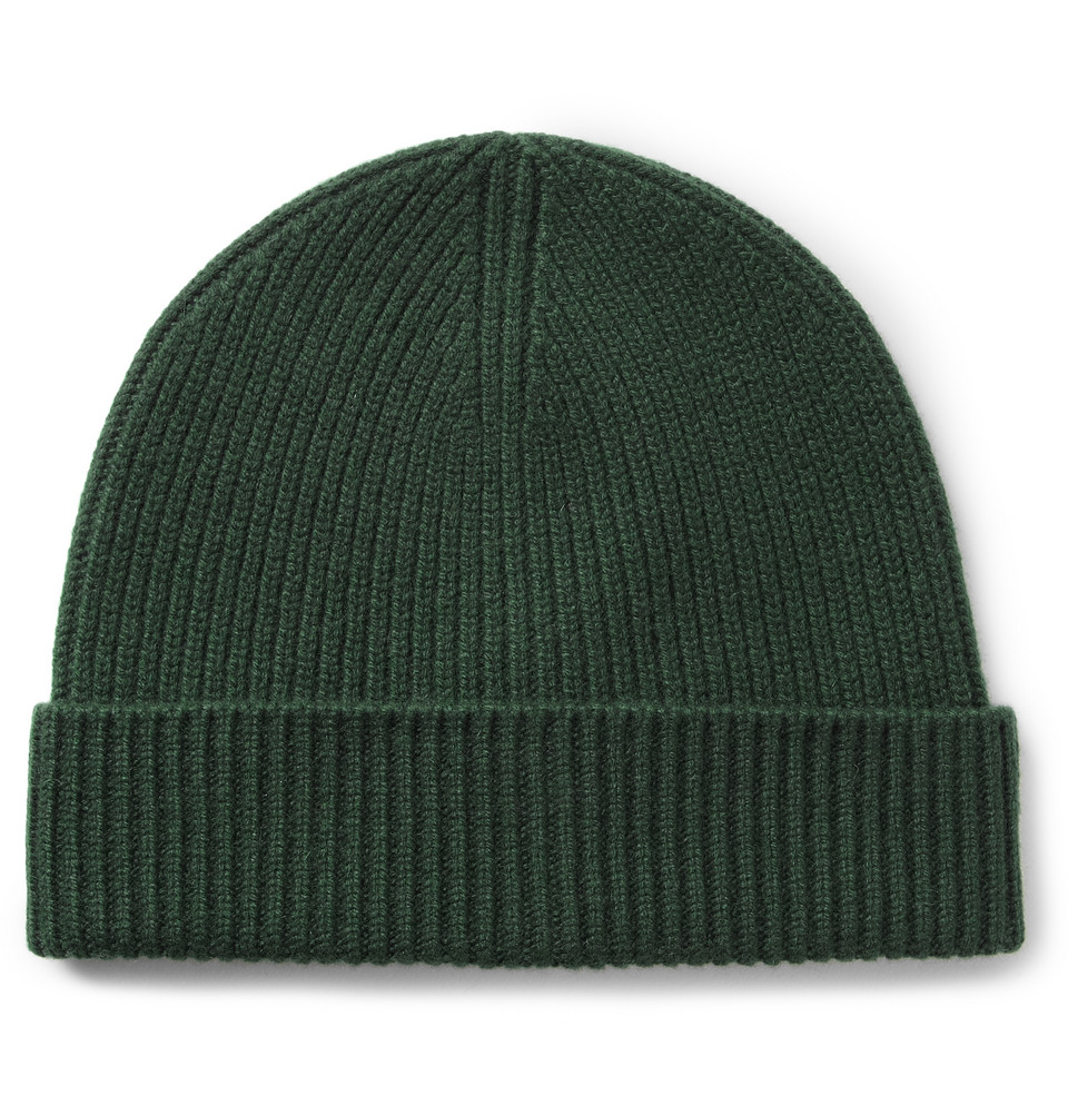 abe9d17ba7c Lyst - J.Crew Ribbed Cashmere Beanie Hat in Green for Men