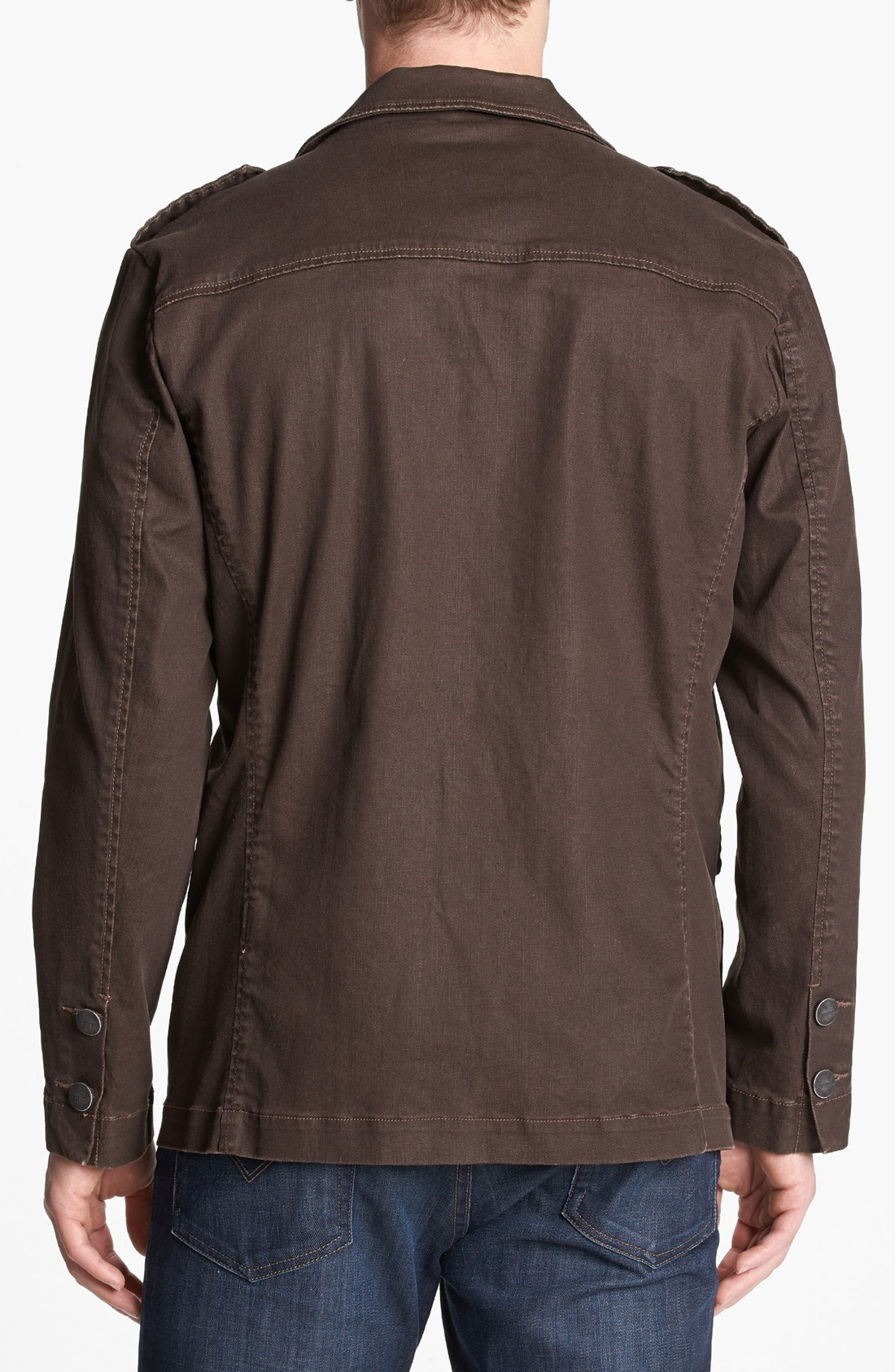 jeremiah dean denim jacket in brown for lyst