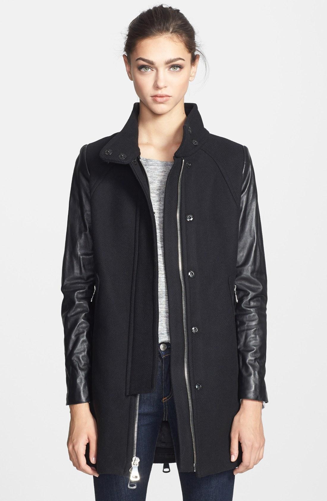 Milly Zip Detail Leather Wool Swing Coat In Black Lyst