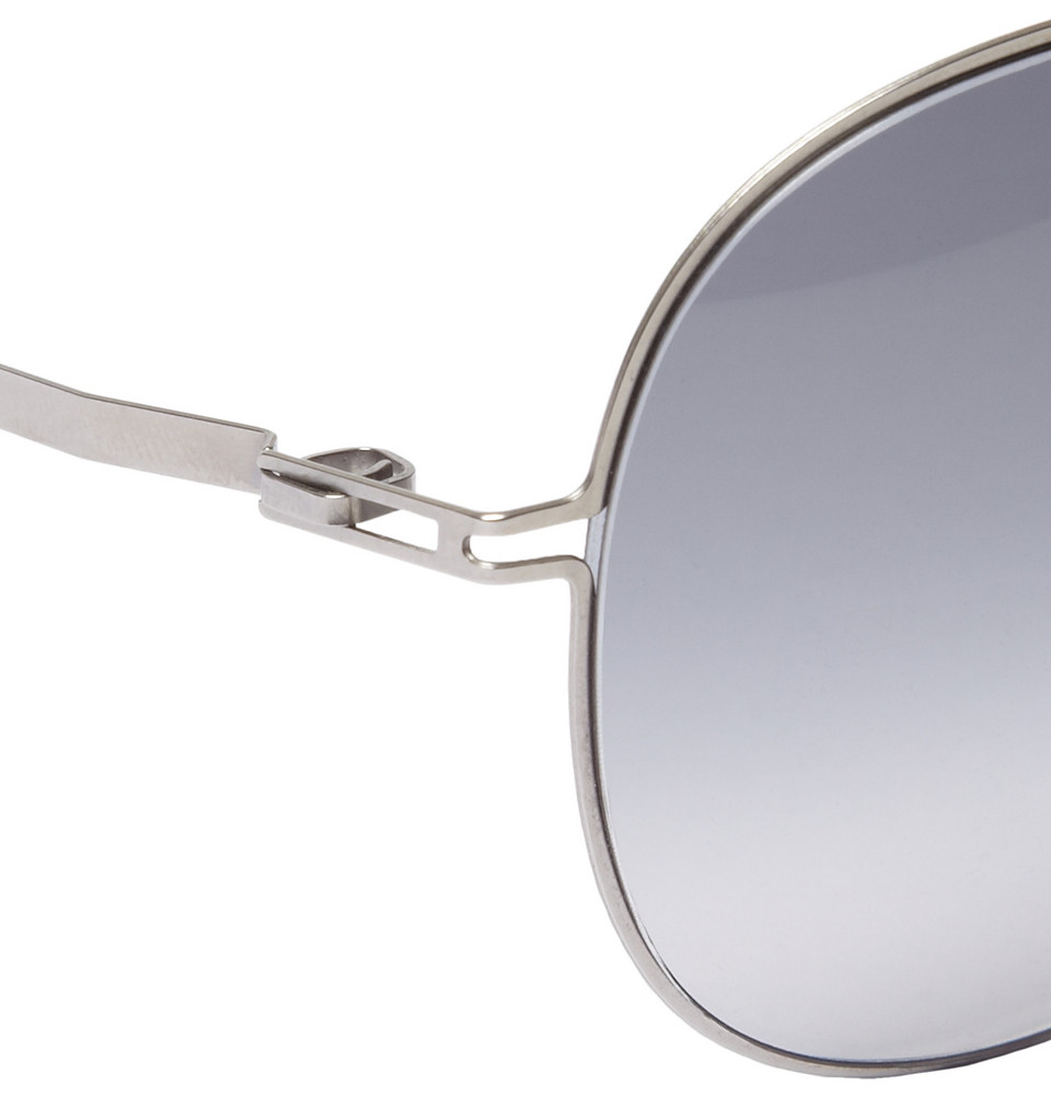 Mykita Bo Lightweight Stainless Steel Aviator Sunglasses in Silver (Grey) for Men