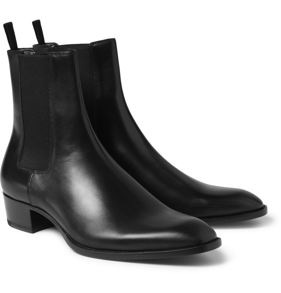 Saint Laurent Leather Chelsea Boots In Black For Men Lyst