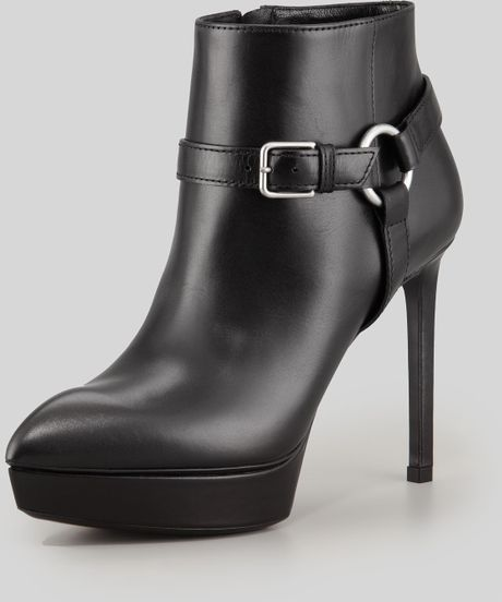 Saint Laurent Leather Platform Harness Bootie in Black