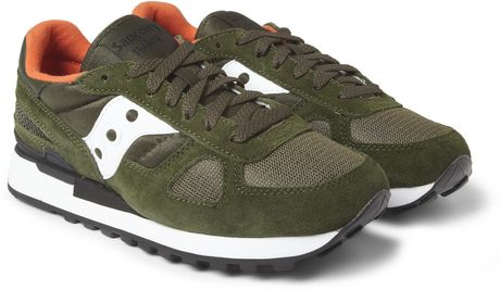 Saucony Shadow Original Suede and Mesh Sneakers in Green for Men